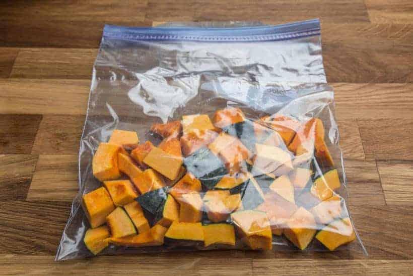 Freeze cubed uncooked Kabocha Squash Japanese Pumpkin in ziploc freezer bag
