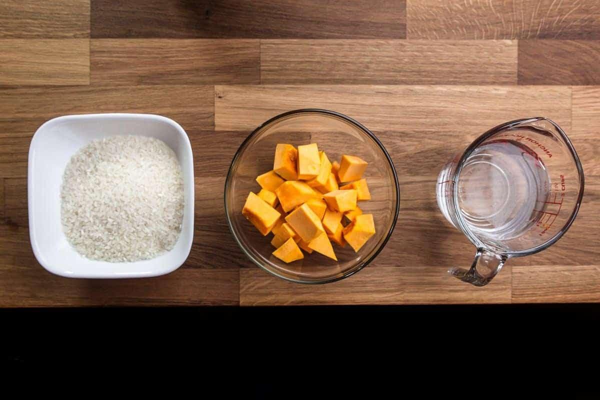 kabocha squash japanese pumpkin pressure cooker rice ingredients