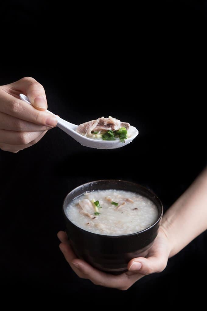Chicken Congee (Rice Porridge or Jook) in Pressure Cooker Recipe