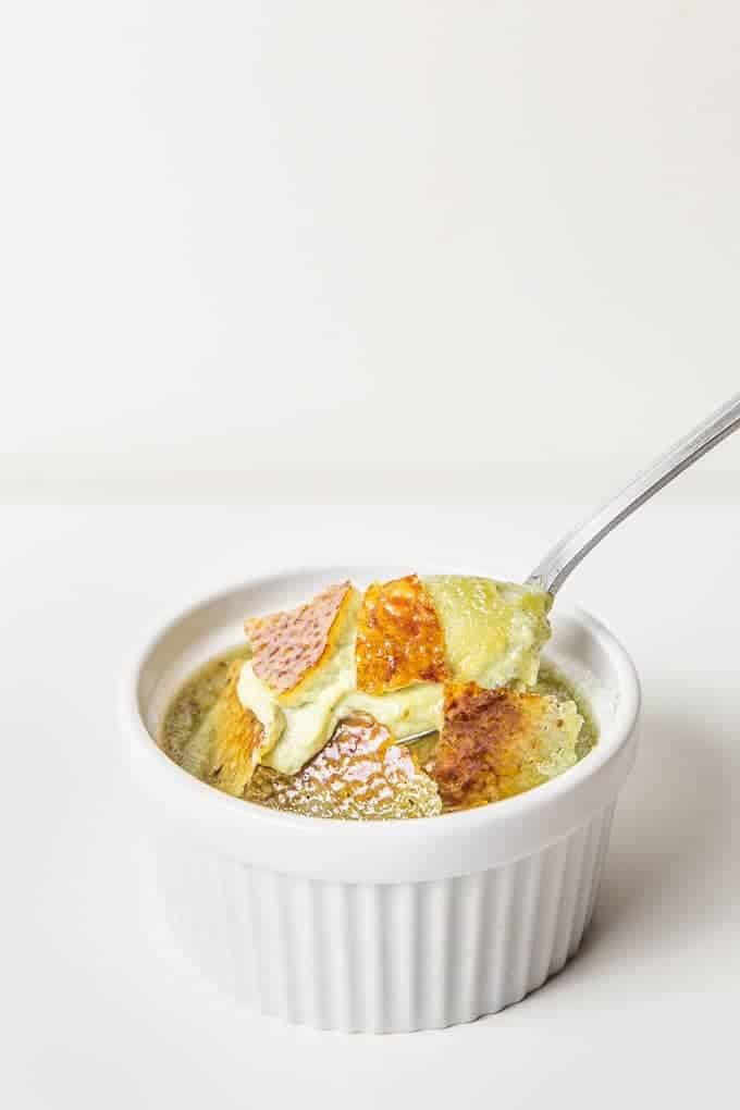 15 mins prep to make this Green Tea Coconut Creme Brulee in pressure cooker or oven. Rich creamy custard & crackable caramel top. Easy yet fancy dessert.