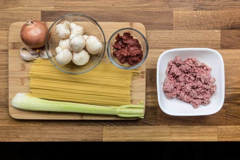 Easy One Pot Pressure Cooker Spaghetti Bolognese Recipe Ingredients