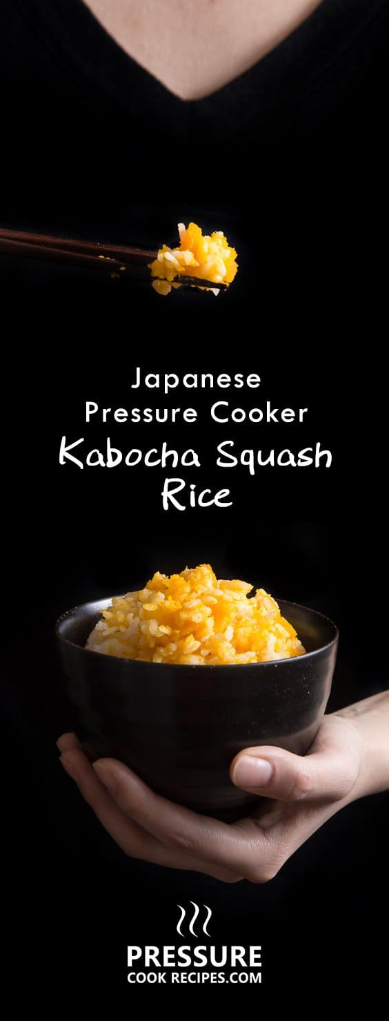 Perfect Kabocha squash pressure cooker rice in less than 30 minutes. This frugal Japanese pumpkin rice is so easy to make. Simple, delicious and healthy. pressurecookrecipes.com