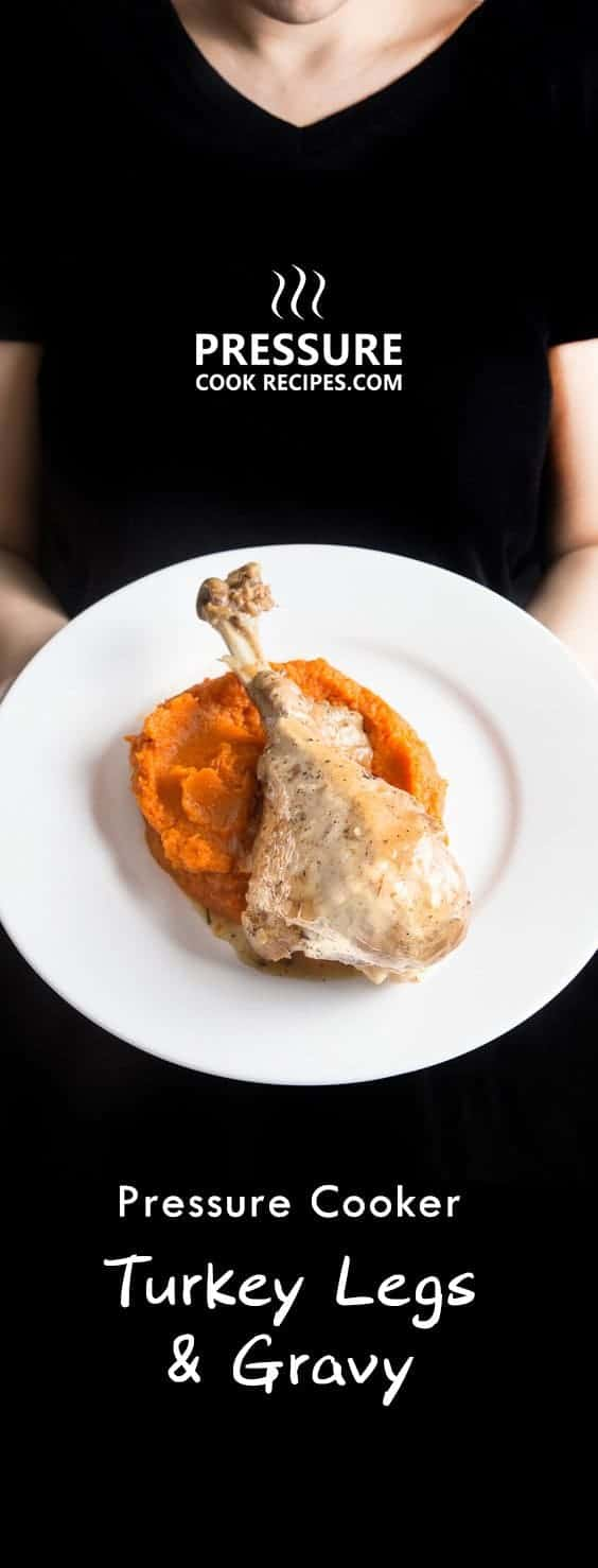 10 mins to prep this easy pressure cooker turkey legs with a classic turkey gravy. Don't just save this for Thanksgiving or Christmas!