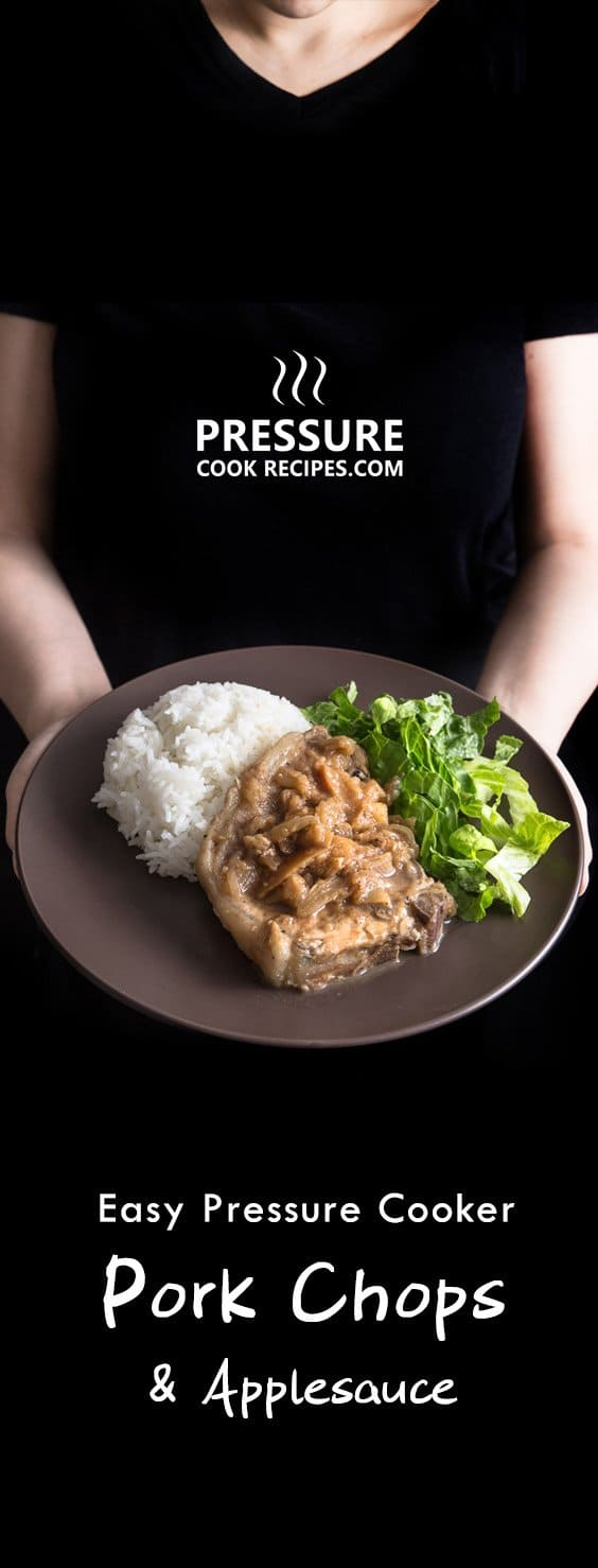 Make this quick & easy 1-minute pressure cooker pork chops and simple homemade applesauce. Moist & tender pork chops drizzled with warm cinnamon applesauce.