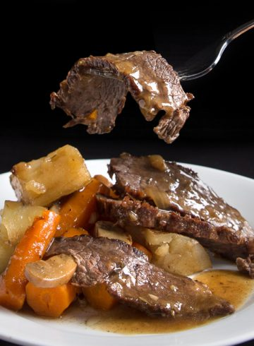 Make this hearty Pressure Cooker Pot Roast Recipe in less than 2 hrs. Your family will love the tender & juicy beef soaked in a deliciously rich umami gravy!