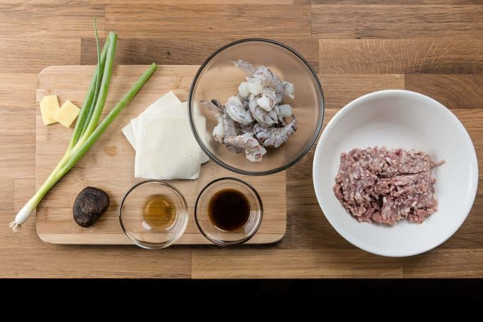 Shumai Recipe (Shrimp & Pork Dumplings 燒賣) Ingredients