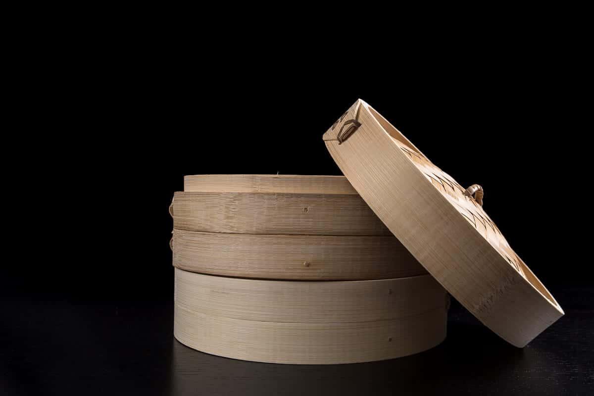 Happy Sales HSST-BMB08,  Three Piece 8 Inch Bamboo Steamer
