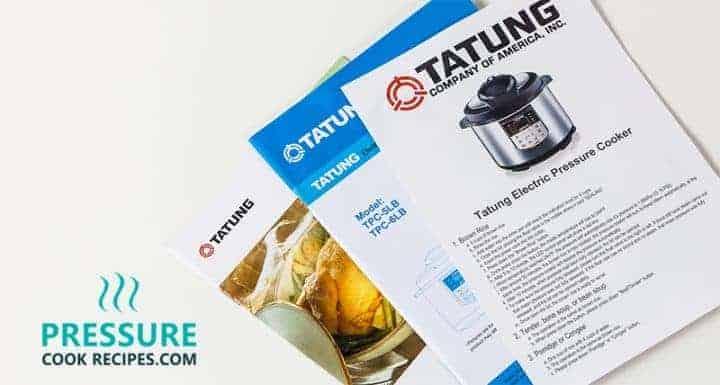 Tatung TPC-6LB 6 Liters Electric Pressure Cooker Manual, Recipe Booklet, Insert