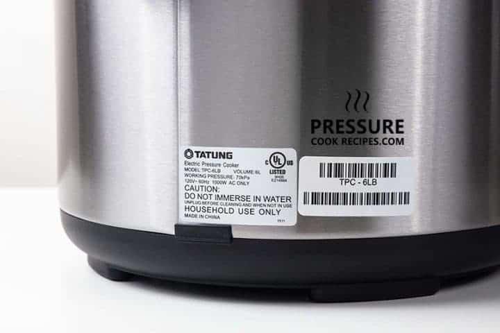 Tatung TPC-6LB 6 Liters Electric Pressure Cooker UL Certified