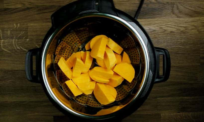 Place sweet potato chunks in steamer basket in Instant Pot Pressure Cooker #AmyJacky #InstantPot #PressureCooker #recipe #sides #vegetarian