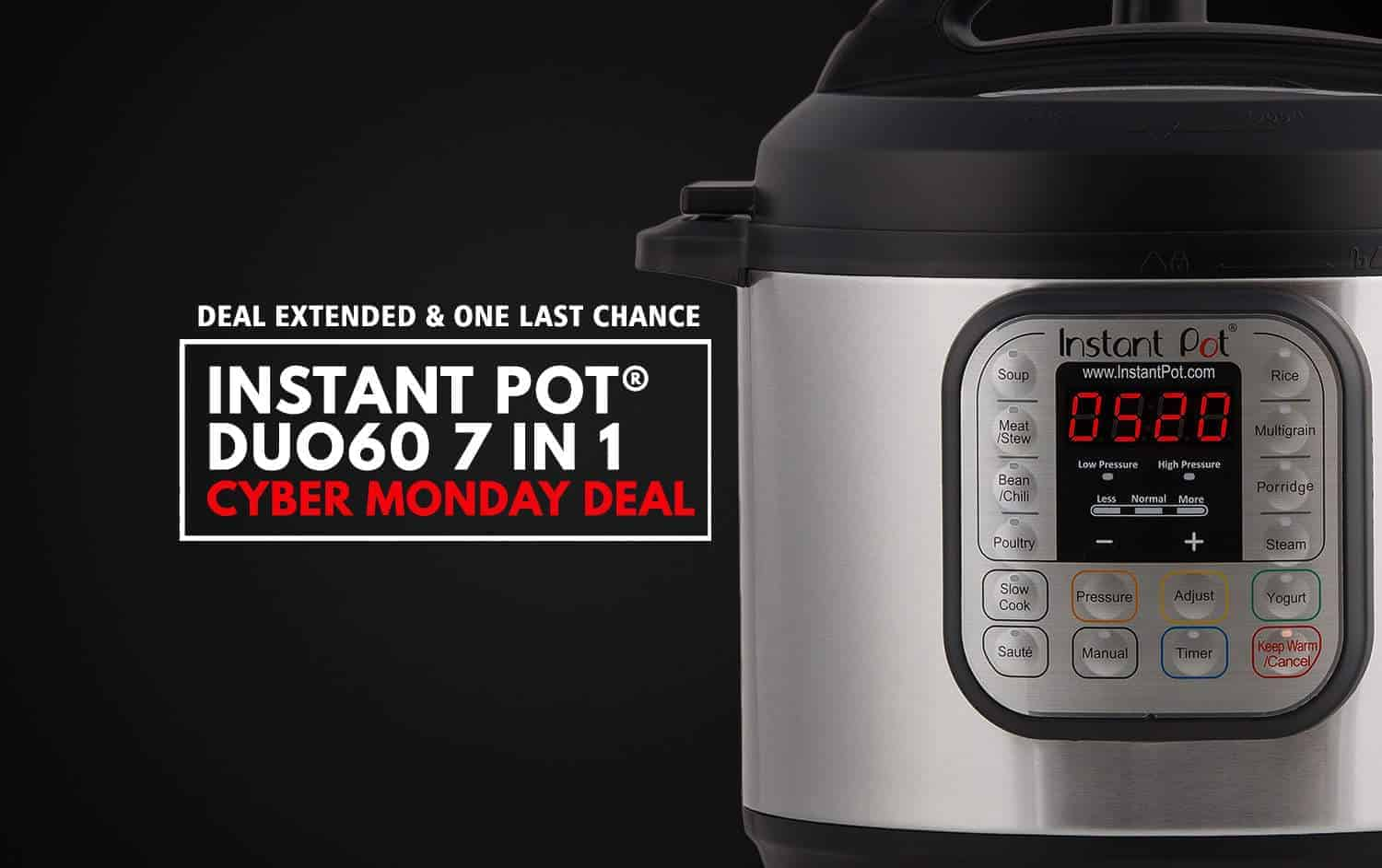 Instant Pot Cyber Monday Deal - Instant Pot Duo60 7-in-1 Programmable Electric Pressure Cooker