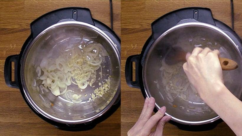 saute onion and garlic in instant pot electric pressure cooker