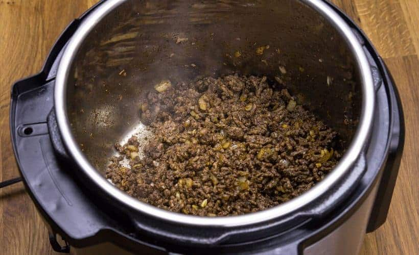 Brown the Ground Beef until slightly crisped and browned