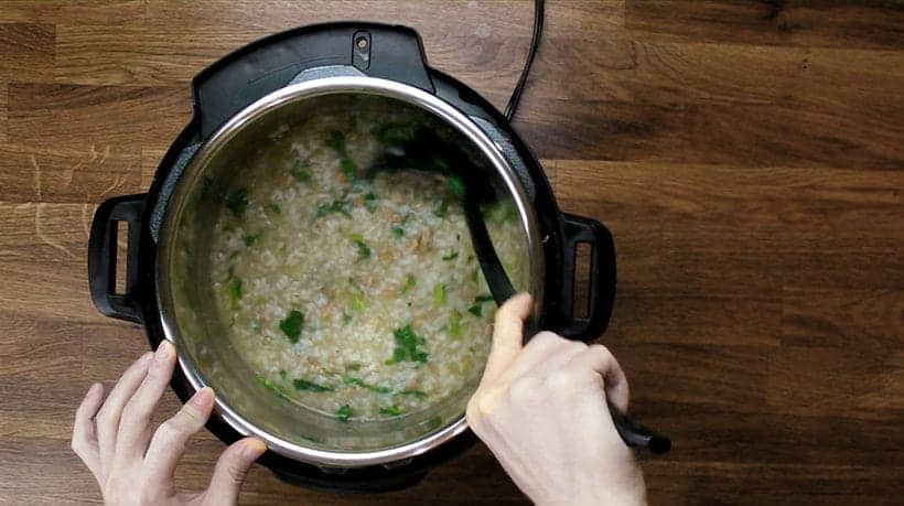 thicken the instant pot congee by stirring until desired consistency