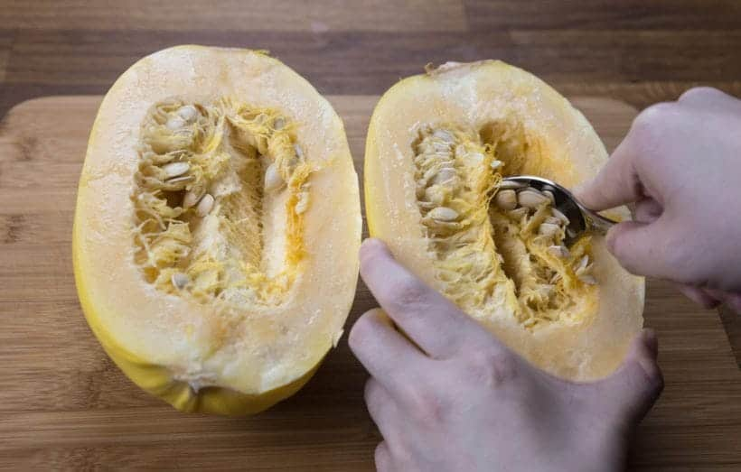 How to prepare spaghetti squash - scraping the seeds