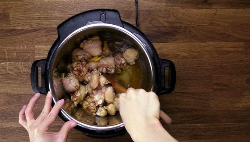 Instant Pot Three Cup Chicken Recipe: Saute chicken drumsticks