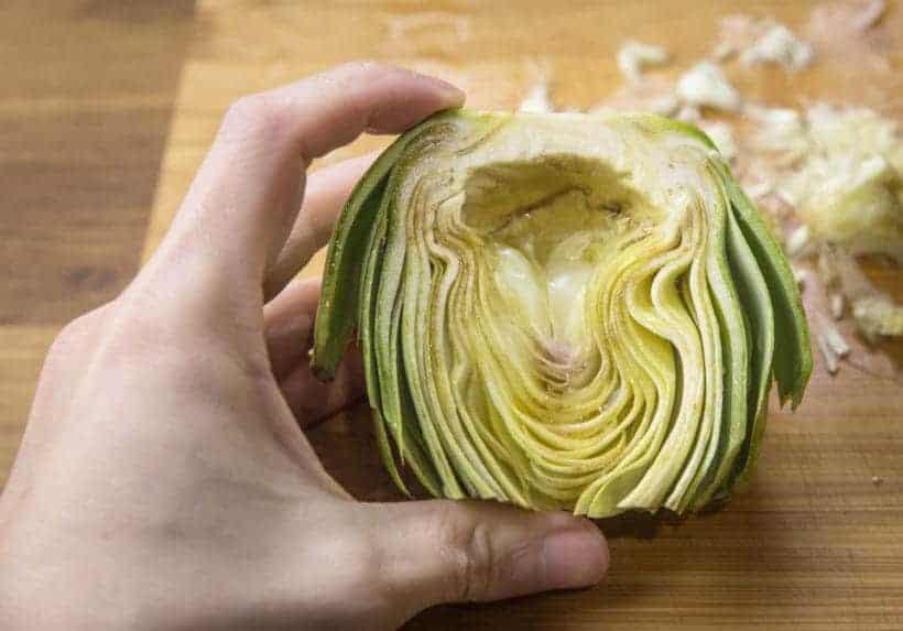 Instant Pot Artichokes Cooking Experiment Test #1 - halved, trimmed, cleaned artichoke