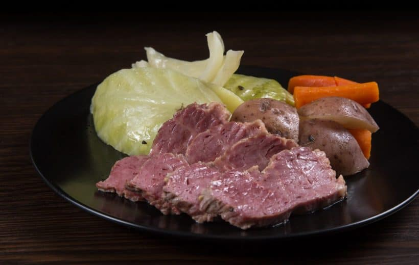 Make this Easy Instant Pot Corned Beef and Cabbage Recipe (Pressure Cooker Corned Beef and Cabbage) for St Patrick's Day! Tender juicy beef brisket classic.
