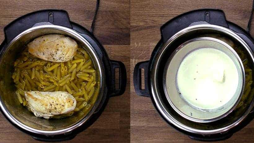 Instant Pot Chicken Alfredo: Pot-in-Pot Chicken and Pasta  #AmyJacky #InstantPot #PressureCooker #recipes #chicken