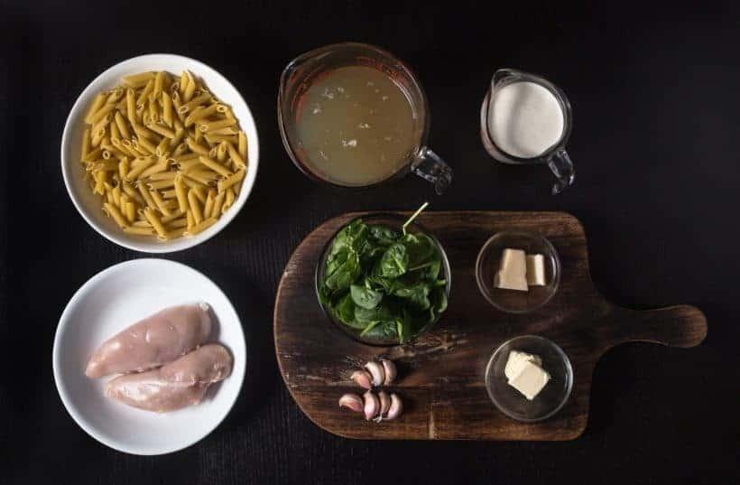 Instant Pot Spinach Chicken Alfredo Pasta Recipe Ingredients