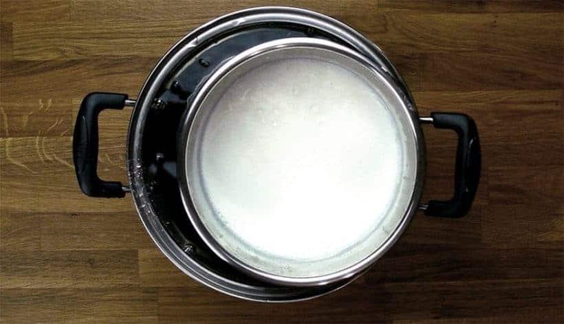 Instant Pot Yogurt Recipe: cooling milk for making homemade yogurt