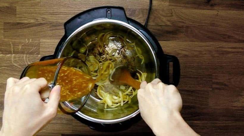 Easy Pressure Cooker Ginger Pork Shogayaki Recipe (Pot-in-Pot): deglazing with homemade Garlic Miso Sauce