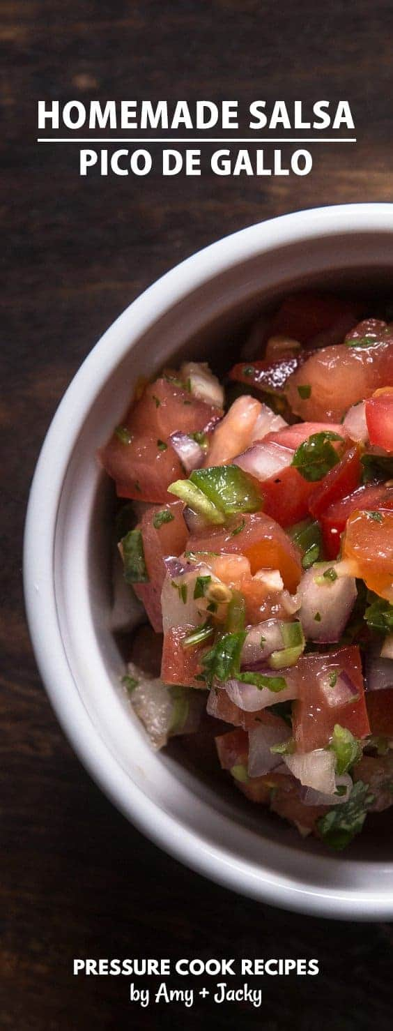 Mexican Homemade Salsa Recipe (Pico de Gallo): excite your taste buds with this easy refreshing Salsa Fresca as a side dish, dip, or topping for tacos.