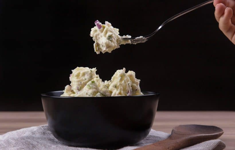 Easy Creamy Instant Pot Potato Salad Recipe (Pressure Cooker Potato Salad): cook potatoes & eggs together with no extra rack or bowl! A balance of rich flavors and textures.