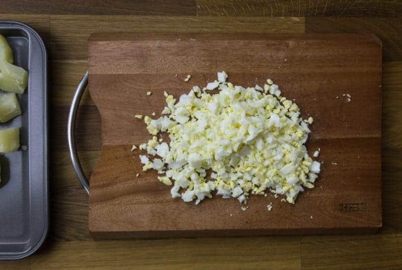 Easy Creamy Instant Pot Potato Salad Recipe (Pressure Cooker Potato Salad): diced pressure cooked eggs