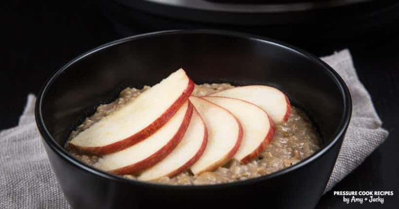 Healthy Hearty Instant Pot Oatmeal Recipe (Pressure Cooker Oatmeal): Make this creamy apple cinnamon oatmeal breakfast to comfort your heart in the morning!