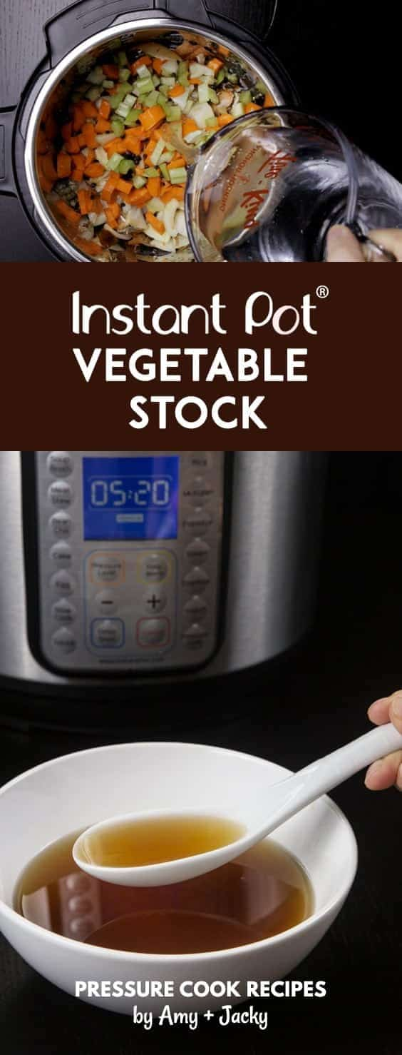 Make Healthy Instant Pot Vegetable Stock Recipe (Pressure Cooker Vegetable Stock). Super easy and quick homemade veggie stock made with real, whole food.