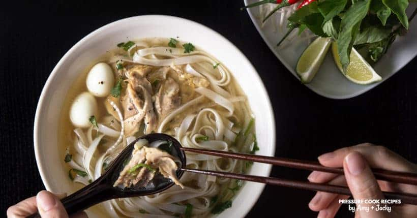 Make this Easy Homemade Instant Pot Pho Ga Recipe (Pressure Cooker Pho Ga): comforting, fragrant Vietnamese Chicken Noodle Soup that warms the heart and nourishes the soul.