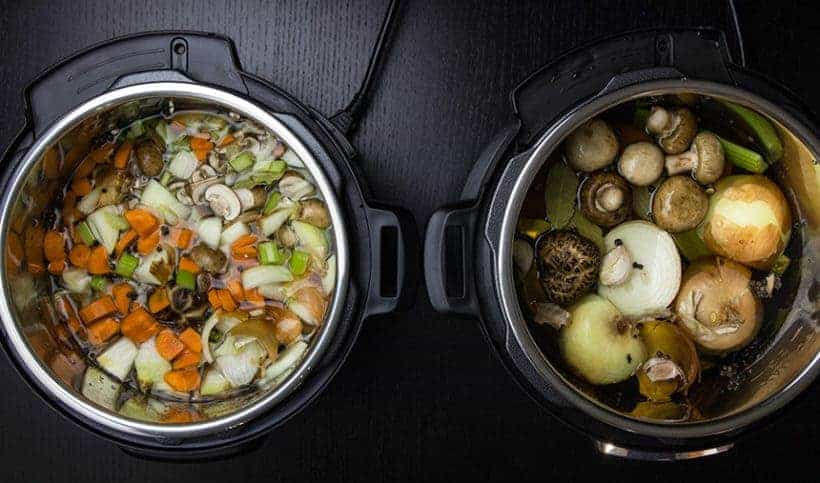 Make Healthy Instant Pot Vegetable Stock Recipe Experiment (Pressure Cooker Vegetable Stock): Roughly Chopped vs. Halved Veggies