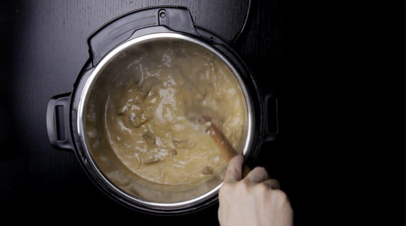 Make Umami Instant Pot Beef Stroganoff Recipe (Pressure Cooker Beef Stroganoff): thickening umami beef stroganoff sauce in Instant Pot