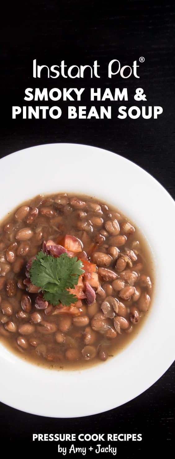 Make this Smoky Instant Pot Ham and Bean Soup Recipe (Pressure Cooker Ham and Bean Soup). No need to pre-soak the pinto beans with dump-and-go option. Super easy to make and deliciously comforting to eat!