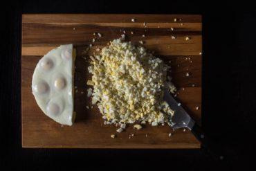 Instant Pot Kathy's No-Peel Egg Loaf Recipe (Pressure Cooker Hard Boiled Egg Hack): super easy, time-saving, no ice-bath, no peeling hassles to make chopped Instant Pot Hard Boiled Eggs for salads, sandwiches, or dips.
