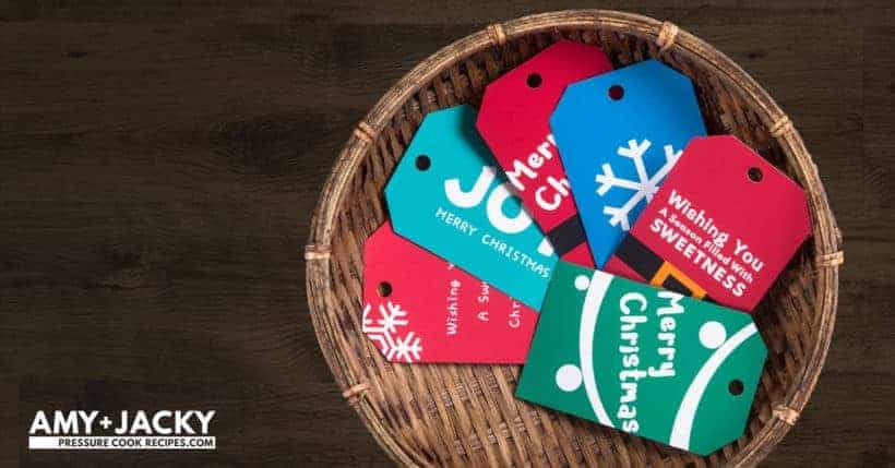 Decorate your holiday gifts with these adorable exclusive Free Printable Christmas Gift Tags: join Amy and Jacky's Pressure Cooking ChristmasGive Challenge