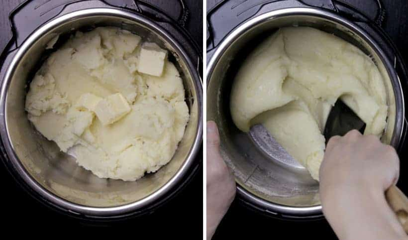 Michelin-Star Inspired Instant Pot Mashed Potatoes Recipe: add unsalted butter and melt it into the potatoes by stirring with silicone spatula