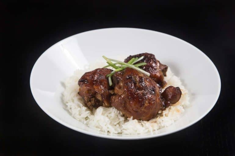 Make Instant Pot Chicken Adobo Recipe (Pressure Cooker Chicken Adobo) with Pot-in-Pot Rice: Classic Filipino favorite comfort food. Super flavorful, quick and easy weeknight Instant Pot Chicken and Rice Recipe.