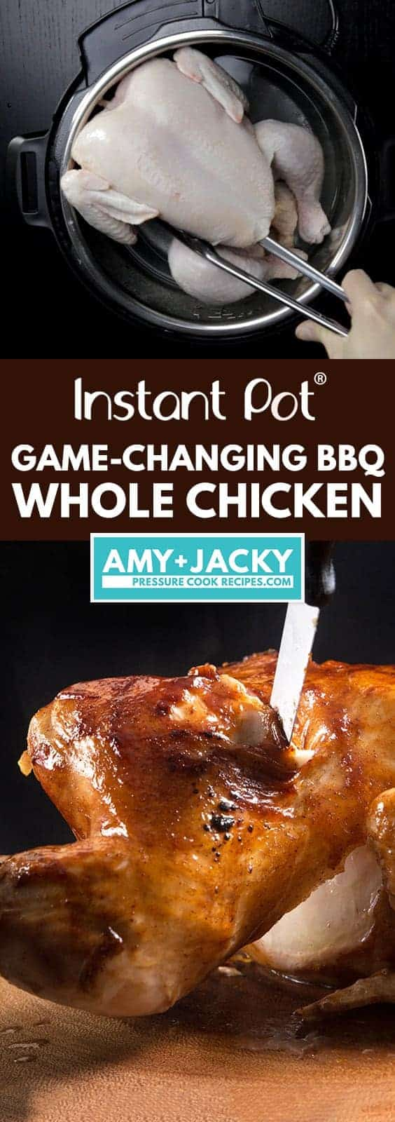 Instant Pot BBQ Whole Chicken Recipe (Pressure Cooker Whole Chicken): Make this 4-ingredient Game -Changing Instant Pot Whole Chicken in 3 Easy Steps! Tender, juicy chicken glazed with caramelized BBQ sauce. Super easy weeknight meal. #instantpot #instantpotrecipes #pressurecooker #pressurecookerrecipes #chicken #chickenrecipes #wholechicken
