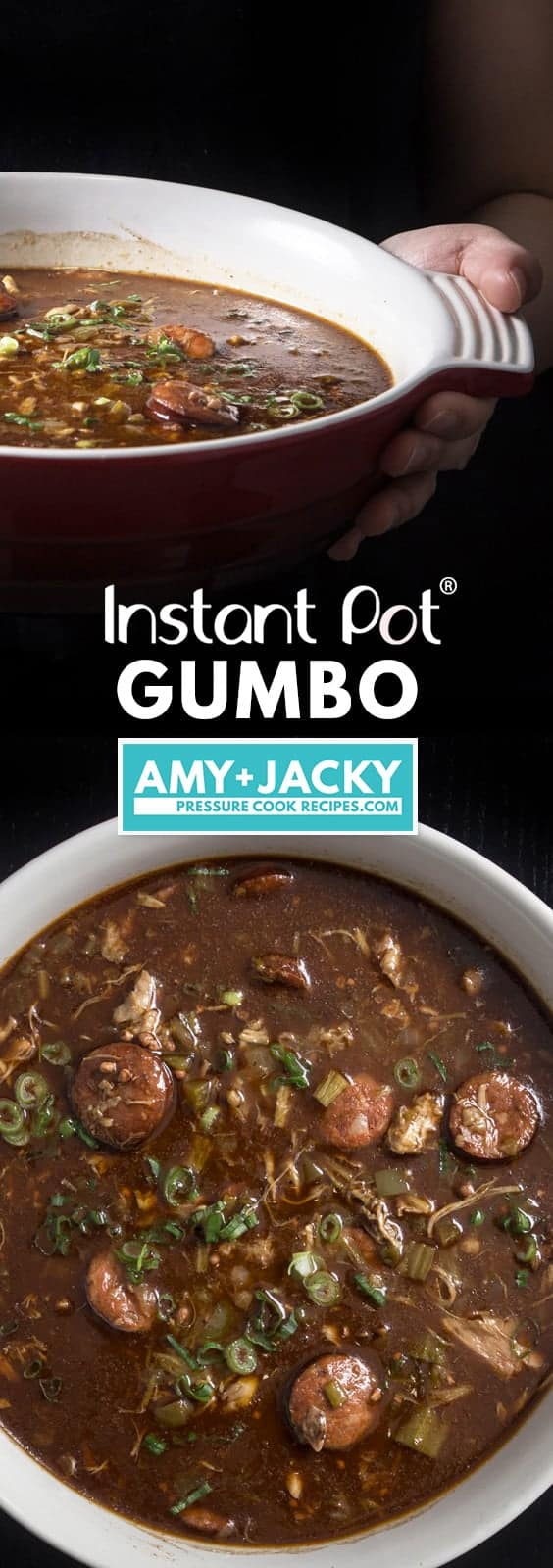 Instant Pot Gumbo Recipe (Pressure Cooker Gumbo): make mouthwatering Southern Louisiana pot of love packed with smoky-spicy Cajun, Creole flavors and rich aromas. Feed your crowd with this delicious party favorite - not just for Mardi Gras! #instantpot #instantpotrecipes #pressurecooker #gumbo #southernrecipes