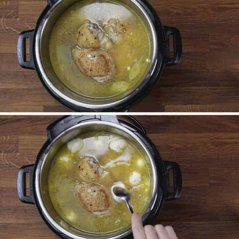 Instant Pot Chicken and Dumplings Recipe (Pressure Cooker Chicken and Dumplings): add dumplings dough into Instant Pot Pressure Cooker