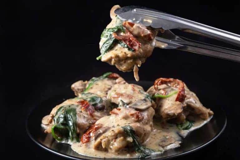 Creamy Instant Pot Tuscan Chicken Recipe (Pressure Cooker Tuscan Garlic Chicken): Make Italian-inspiredtender chicken in simple yet richly balanced creamy garlic sauce with caramelized mushrooms and sweet sun-dried tomatoes. Crazy satisfying easy weeknight meal! #instantpot #instapot #pressurecooker #powerpressurecooker #instantpotrecipes #recipes #italianrecipes #chicken