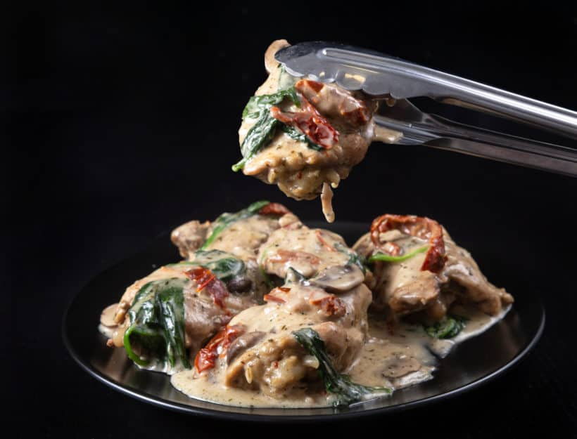 Creamy Instant Pot Tuscan Chicken Recipe (Pressure Cooker Tuscan Garlic Chicken): Make Italian-inspired tender chicken in simple yet richly balanced creamy garlic sauce with caramelized mushrooms and sweet sun-dried tomatoes. Crazy satisfying easy weeknight meal! #instantpot #instapot #pressurecooker #powerpressurecooker #instantpotrecipes #recipes #italianrecipes #chicken
