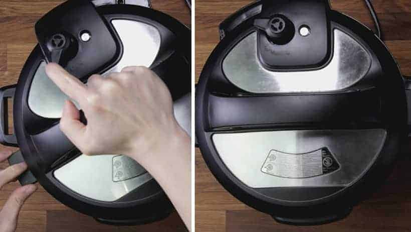 How to seal Instant Pot Pressure Cooker for Pressure Cooking: turn venting knob to sealing position