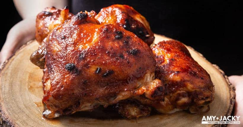 Instant Pot BBQ Chicken (Pressure Cooker BBQ Chicken Recipe) 3 Super Easy steps with a few pantry staples. Juicy tender BBQ Chicken bursting with sticky smoky-sweet flavors. Delicious family recipe for busy nights! #instantpot #pressurecooker #chicken #dinner #easy