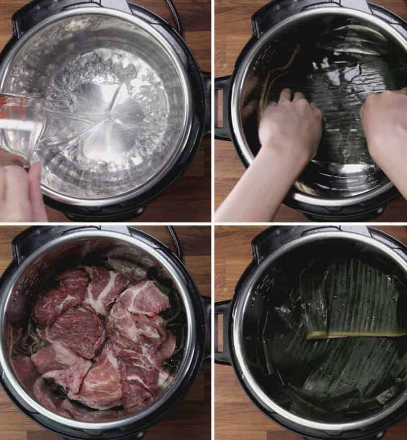 Instant Pot Kalua Pork Recipe (Pressure Cooker Hawaiian Pork Roast): pressure cook marinated cubed pork shoulder with fresh banana leaves #instantpot #pressurecooker #recipes #pork #hawaiian