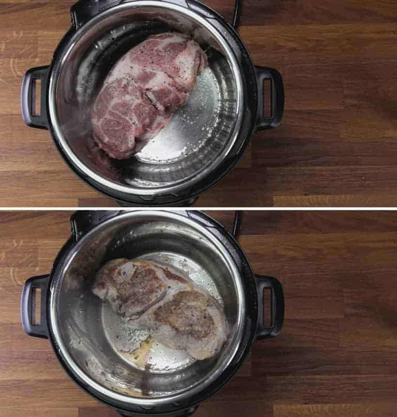 Instant Pot Pork Shoulder: season pork shoulder and brown pork shoulder in Instant Pot Pressure Cooker
