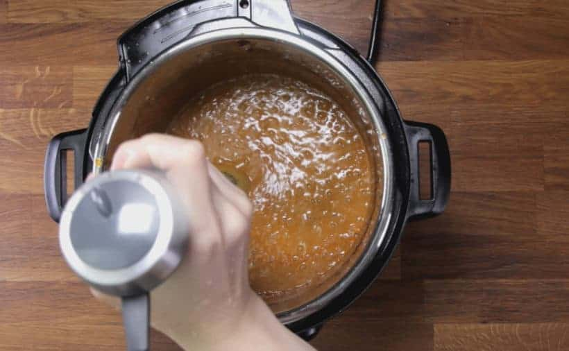 Instant Pot Butter Chicken: blend butter chicken sauce with immersion blender for smoother texture