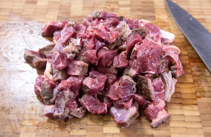 Instant Pot HK Borscht Soup: cut beef shank into bite-size pieces